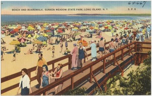 Beach and boardwalk, Sunken Meadow State Park, Long Island, N. Y.
