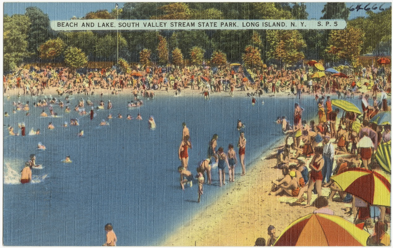 Beach and lake, South Valley Stream State Park, Long Island, N. Y.