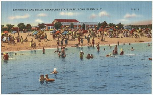 Bathhouse and beach, Heckscher State Park, Long Island, N. Y.