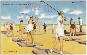 Activities at Manhattan Beach, N. Y. Golf instruction