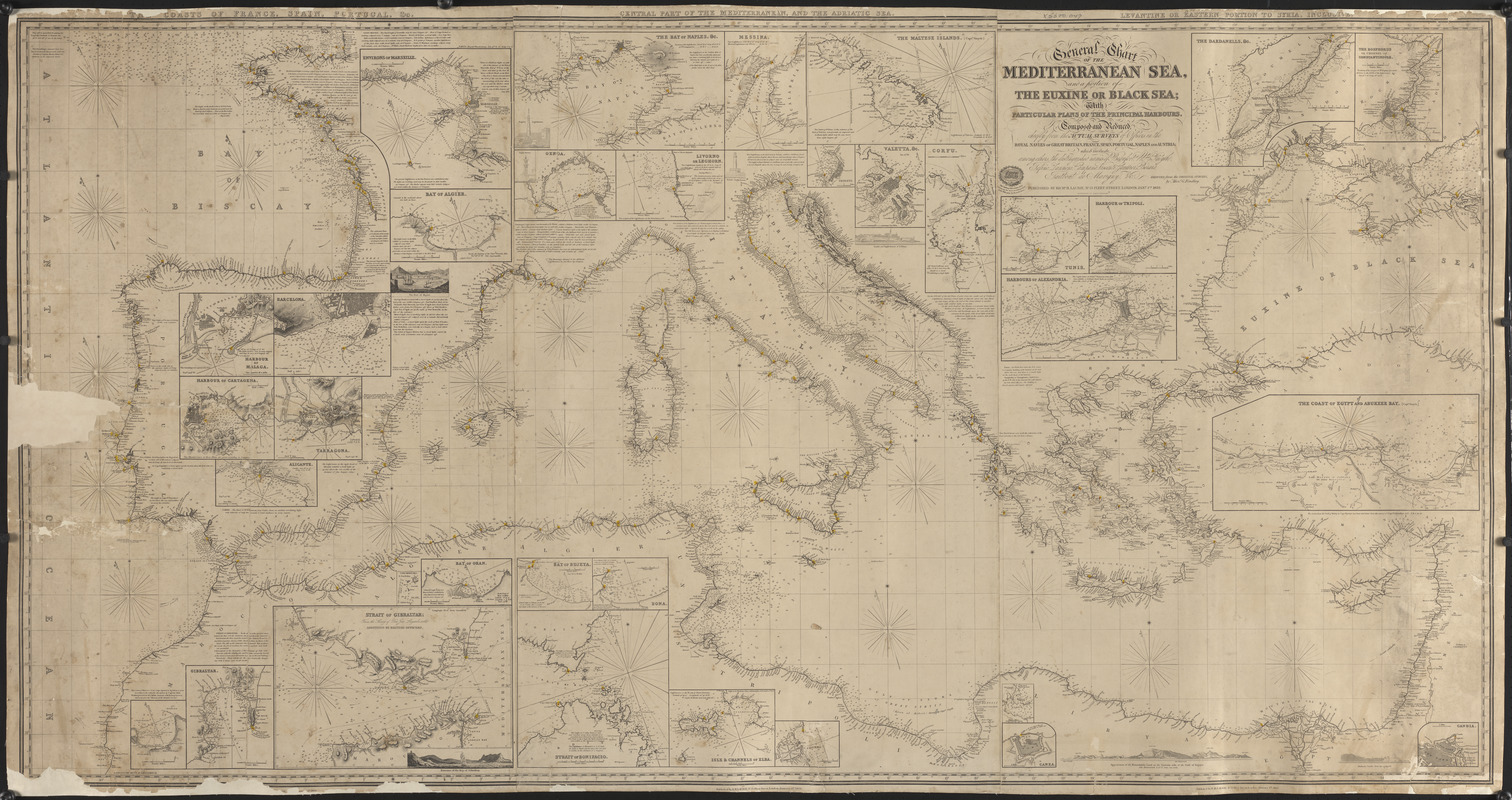 General chart of the Mediterranean Sea and a portion of the Euxine or Black Sea with particular plans of the principal harbors