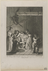 Quixote being cared for by the innkeeper's wife and daughter