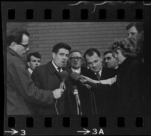Assistant District Attorney Donald Conn and F. Lee Bailey being interviewed after the trial of Albert DeSalvo