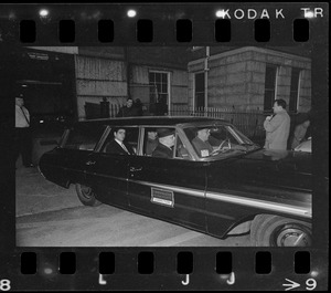 Albert DeSalvo being taken from Middlesex Superior Court in a Commonwealth of Massachusetts Correction car