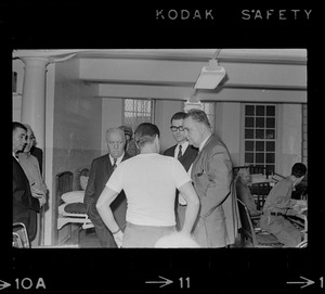 Albert DeSalvo talking to Paul A. Tamburello and other unidentified members of fact-finding delegation at Bridgewater State Hospital