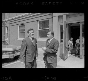 Assistant District Attorney Donald Conn and F. Lee Bailey outside Middlesex Superior Court after Albert DeSalvo pleaded innocent to attack charges