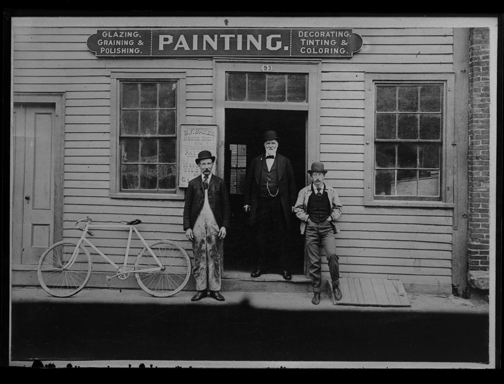 B.F. Baker paint shop with men (see GPN-63)