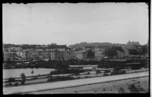 View of Brookline Village from Boston with pond and Pill Hill