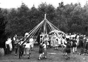 Class of 1946 celebrate May Day with the May Pole Dance, 1948