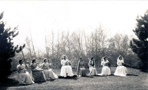 Students class of 1946 celebrate May Day in 1948. May queen and her court.
