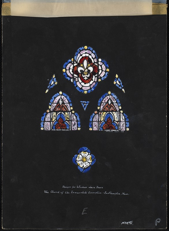 Designs for windows above doors, the Church of the Immaculate Conception, Easthampton, Mass. North.