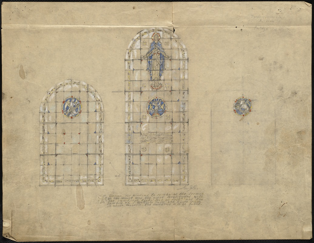 Design for windows to symbolize the Sermon on the Mount and the 8 Beatitudes