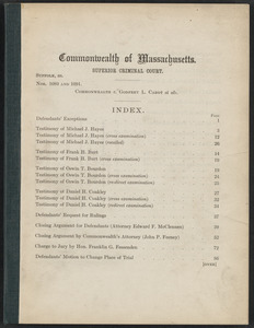 Sacco-Vanzetti Case Records, 1920-1928. Defense Papers. Commonwealth v. Godfrey L. Cabon et. als. Defendants' Bill of Exceptions, n.d. Box 17, Folder 5, Harvard Law School Library, Historical & Special Collections
