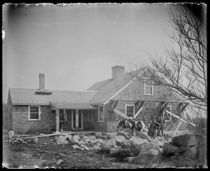 House being shingled. 2 oxen, 2 men