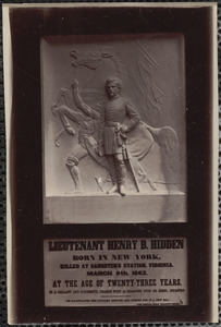 Hidden, Henry B., First Lieutenant, First New York Cavalry, memorial table