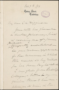 Elizabeth Cabot Cary Agassiz autograph letter signed to Thomas Wentworth Higginson, Cambridge, Massachusetts, 9 December 1893