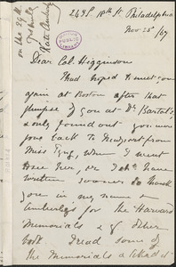 Viscountess Katharine Louisa Stanley Russell Amberley autograph letter signed to Thomas Wentworth Higginson, Philadelphia, 25 November 1867
