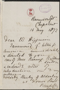 Viscountess Katharine Louisa Stanley Russell Amberley autograph letter signed to Thomas Wentworth Higginson, Chepstow, Great Britain, 16 May 1872