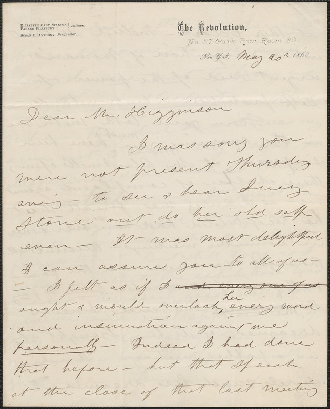 Susan B. Anthony autograph letter signed to Thomas Wentworth Higginson, New York, 20 May 1868