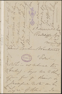 Fannie Maria Adelaide Arnold autograph letter signed to Thomas Wentworth Higginson, [London]