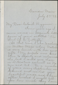 Kate Louise Brown autograph letter signed to Thomas Wentworth Higginson, Camden, ME., 27 July 1898