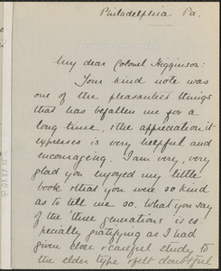 Anna Robeson Brown Burr autograph letter signed to Thomas Wentworth Higginson, Philadelphia