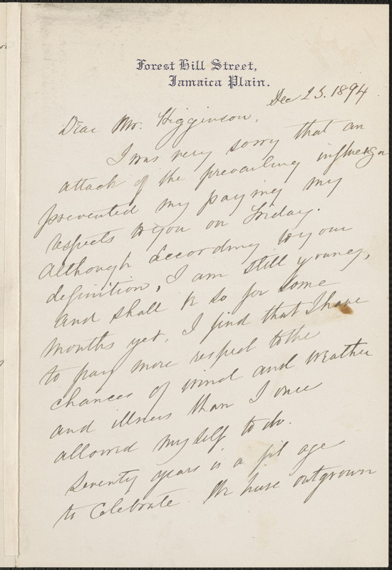 Ednah Dow Cheney autograph letter signed to Thomas Wentworth Higginson, Jamaica Plain, Mass., 23 December 1894
