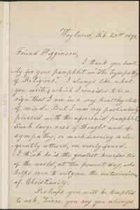 Lydia Maria Child autograph letter signed to Thomas Wentworth Higginson, Wayland, Mass., 21 February 1871