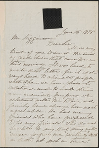 Mary Clemmer autograph letter signed to Thomas Wentworth Higginson, 15 June 1875