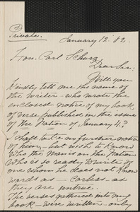 Mary Clemmer autograph letter signed to Carl Schurz, 12 January 1882