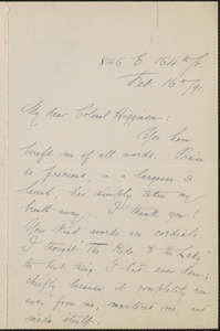 Helen Gray Cone autograph letter signed to Thomas Wentworth Higginson, [New York], 16 February 1891