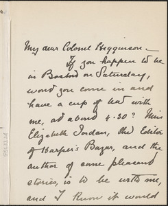Margaret Deland autograph note signed to Thomas Wentworth Higginson, Boston