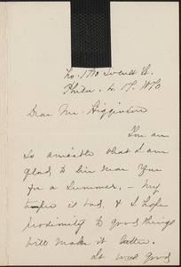 Anna E. Dickinson autograph note signed to Thomas Wentworth Higginson, 17 March 1870