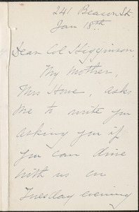 Maud (Howe) Elliott autograph note signed to Thomas Wentworth Higginson, [Boston], 18 January