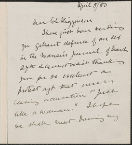 Emily Faithfull autograph letter signed to Thomas Wentworth Higginson, [Peterboro, N.H.], 8 April 1880