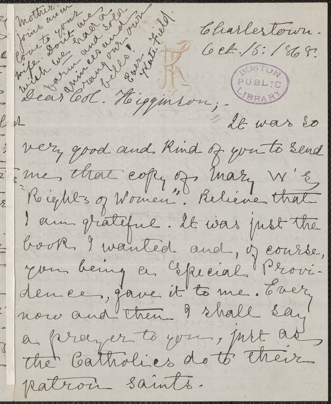 Kate Field autograph letter signed to Thomas Wentworth Higginson, Charlestown, Mass., 15 October 1868
