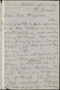 Kate Field autograph letter signed to Mary Elizabeth (Channing) Higginson, Boston, 5 April 1869