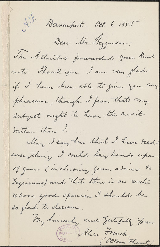 Alice French (Octave Thanet) autograph note signed to Thomas Wentworth Higginson, Davenport, Iowa, 12 October