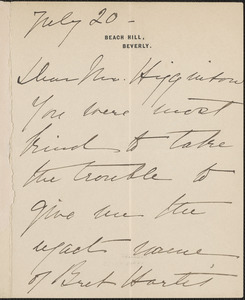 Isabella Stewart Gardner autograph note signed to Thomas Wentworth Higginson, Beverly, Mass., 20 July