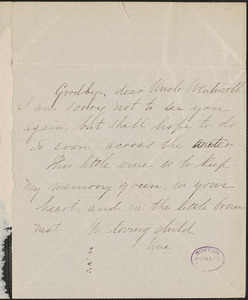 Una Hawthorne autograph note signed to Thomas Wentworth Higginson, [Concord, Mass.]