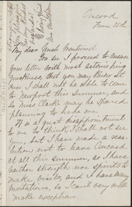 Una Hawthorne autograph letter signed to Thomas Wentworth Higginson, Concord, Mass., 15 June