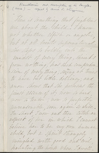 Nathaniel Hawthorne manuscript description of his daughter Una