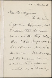 Sarah Orne Jewett autograph letter signed to Thomas Wentworth Higginson, [Boston]
