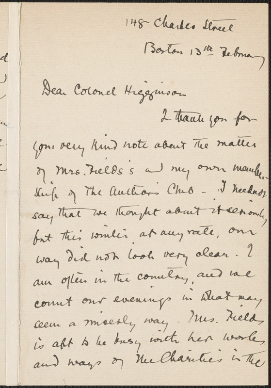 Sarah Orne Jewett autograph letter signed to Thomas Wentworth Higginson, Boston, 13 February