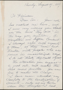 Lucy Larcom autograph letter signed to Thomas Wentworth Higginson, Beverly, Massachusetts, 19 August 1889