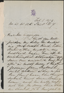 Rose Hawthorne Lathrop autograph letter signed to Thomas Wentworth Higginson, New York, 1 February 1872