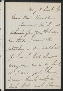 Rose Hawthorne Lathrop autograph letter signed to Mrs. Mackay, Concord, Massachusetts, 9 May