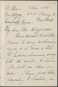 Rose Hawthorne Lathrop autograph letter signed to Thomas Wentworth Higginson, New York, 13 October 1899