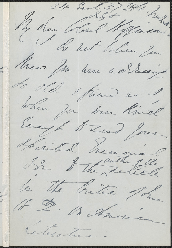 Emma Lazarus autograph letter signed to Thomas Wentworth Higginson, New York, 8 July