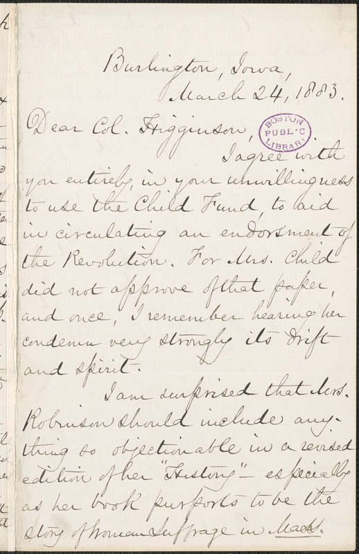 Mary Ashton Rice Livermore autograph letter signed to Thomas Wentworth Higginson, Burlington, Iowa, 24 March 1883